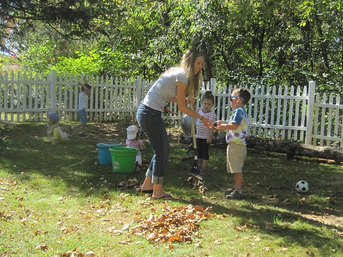 raking up the leaves