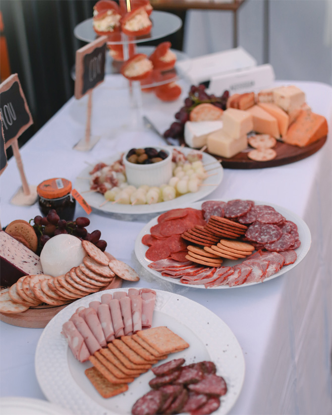charcuterie meat cheese table party station