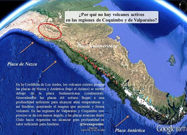 Por qué en la era geológica actual (Holoceno) no hay volcanes activos en las regiones de Coquimbo y Valparaíso.