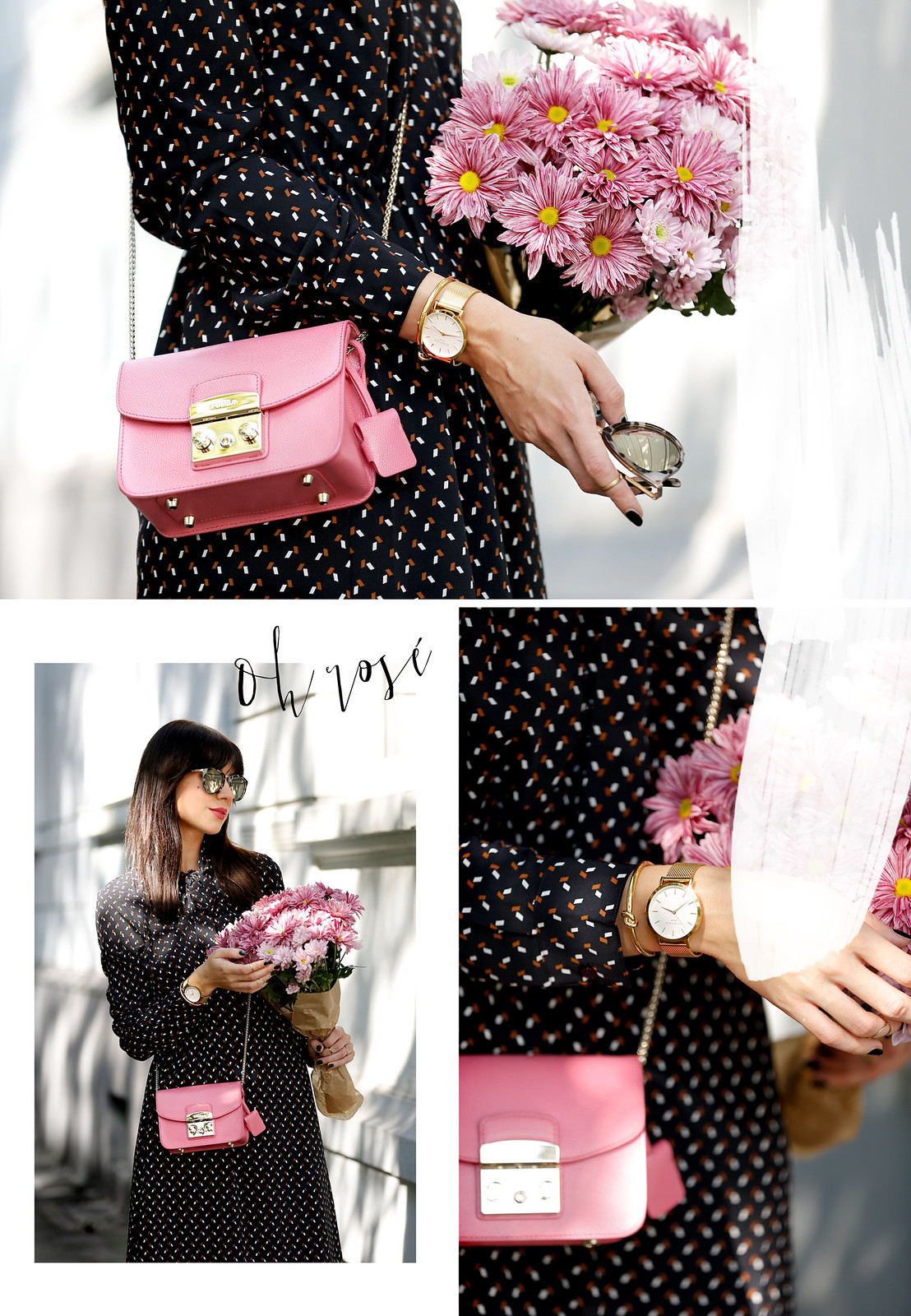 outfit look lookbook inspiration inspo pink furla metropolis mini bag about you patrizia dini dress late summer rose poem fashionblogger lifestyle blogger zara chanel pumps black white minimal chic cats & dogs fashionblog ricarda schernus modeblogger 2