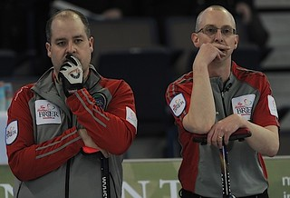 Edmonton Ab.Mar2,2013.Tim Hortons Brier.N.W.T./Yukon skip Jamie Koe,third Tom Naugler,CCA/michael burns photo | by seasonofchampions