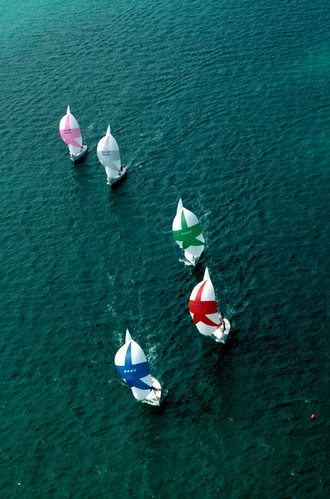 "Aerial view of ""Sunfish"" sailboats: Key West, Florida 