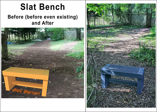 Painted Slat Bench Before and After