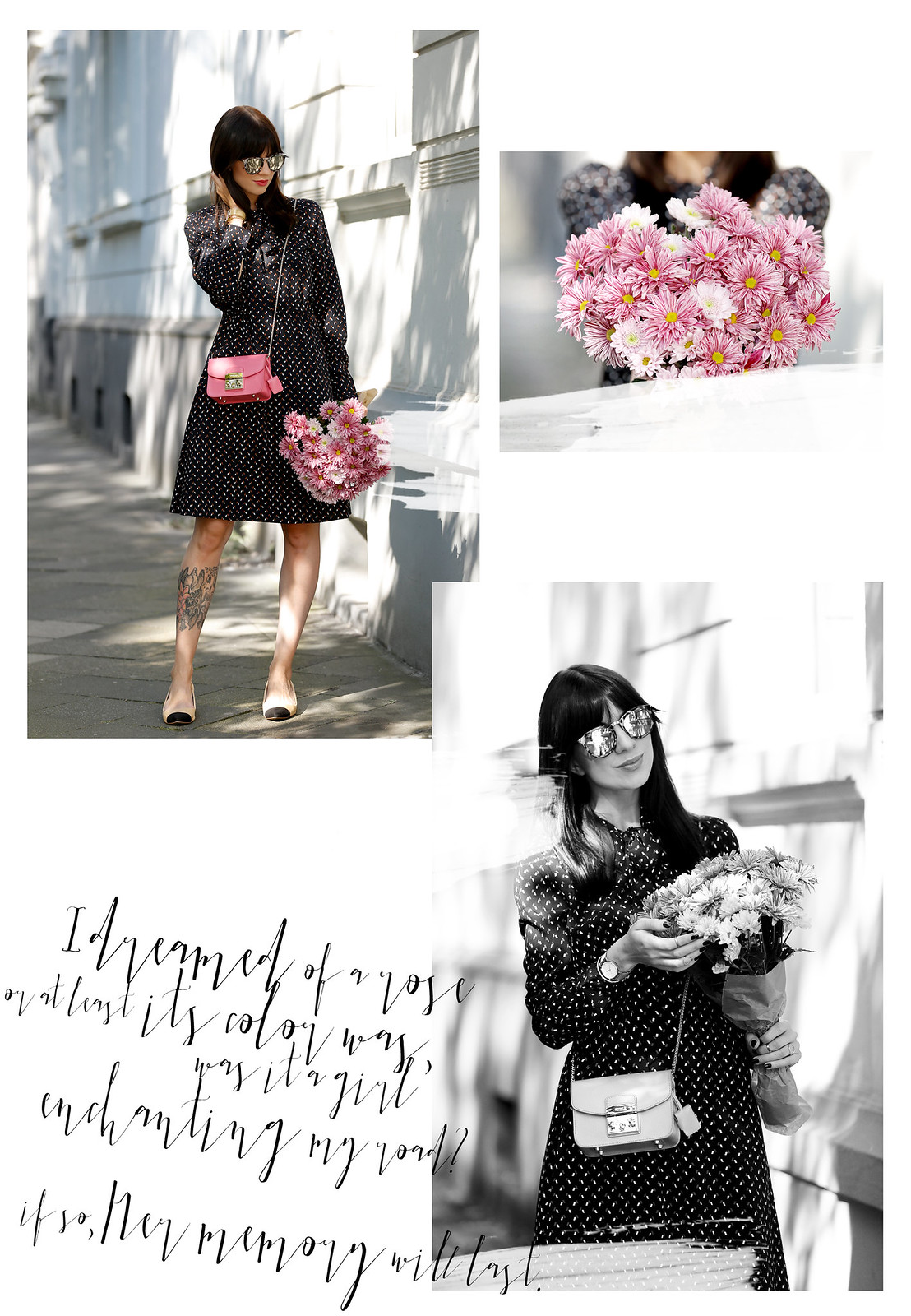 outfit look lookbook inspiration inspo pink furla metropolis mini bag about you patrizia dini dress late summer rose poem fashionblogger lifestyle blogger zara chanel pumps black white minimal chic cats & dogs fashionblog ricarda schernus modeblogger 1