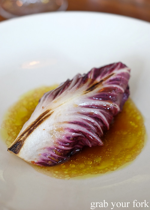 Spanish mackerel with radicchio and fermented cucumber at Sixpenny in Stanmore