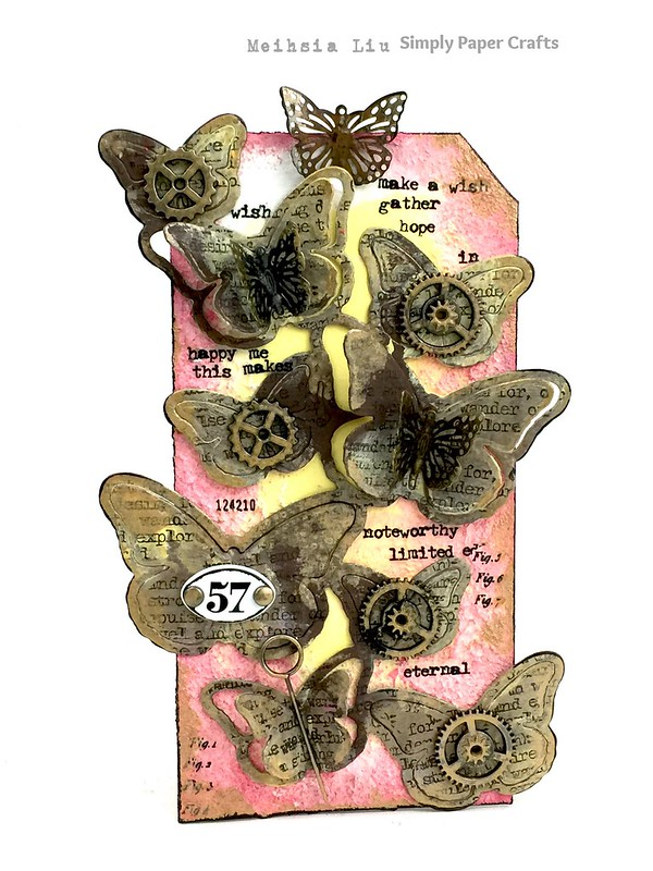 Meihsia Liu simply paper crafts Mixed Media Tag Butterfly