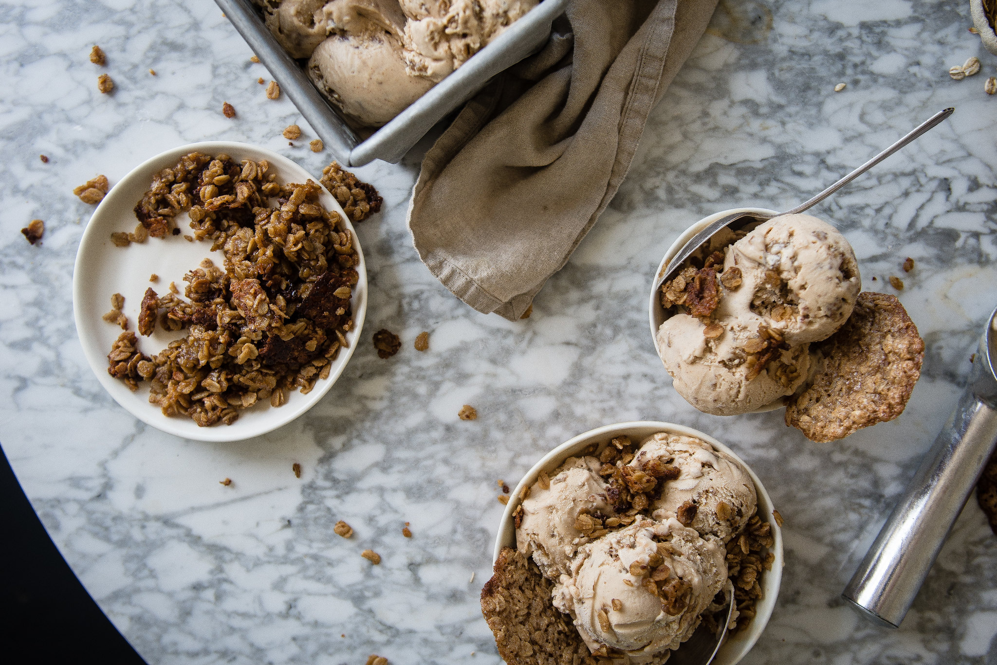 oatmeal lace ice cream | two red bowls