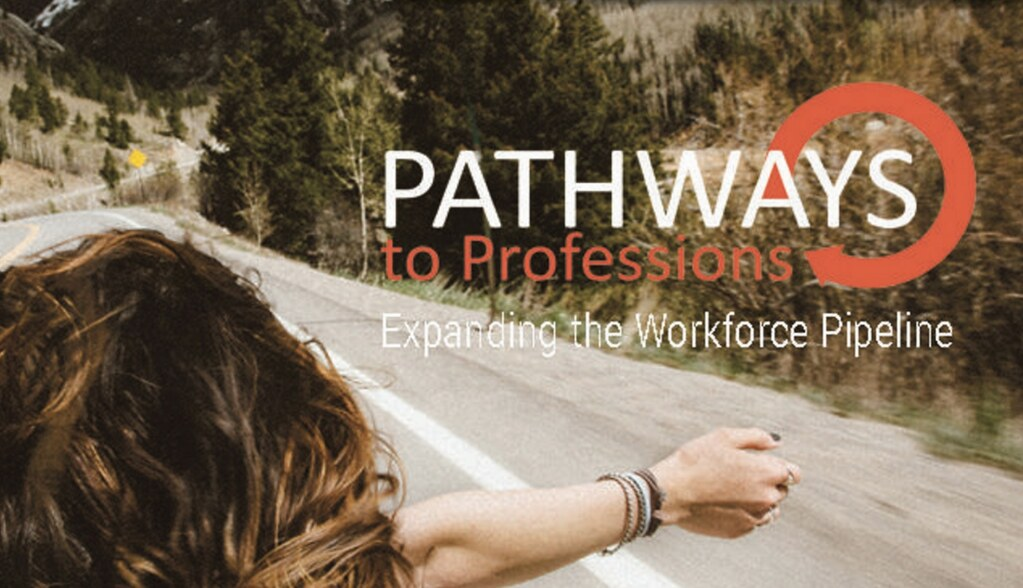 Mountain road with woman holding arm out of car window with overlay text 'Pathways to Professions, Expaning the Workforce Pipeline'