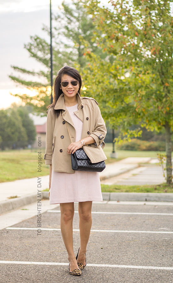 camel trench cape, pink wool shift dress, black crossbody bag, floral cuff, leopard flats