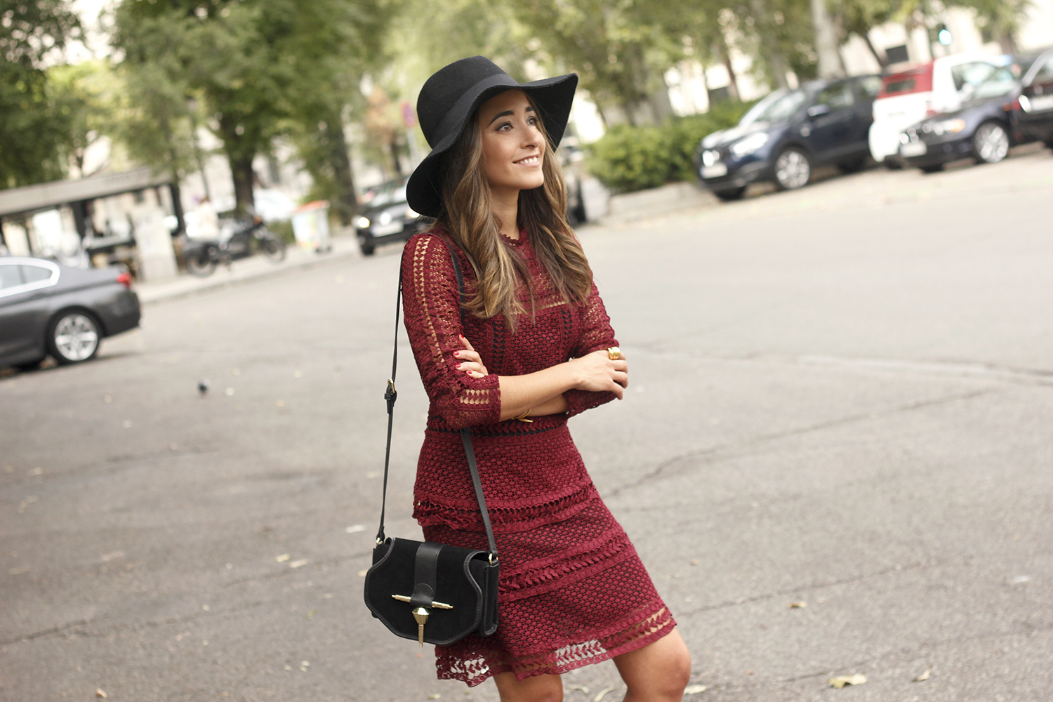 burgundy lace dress black heels hat accessories outfit fashion style15