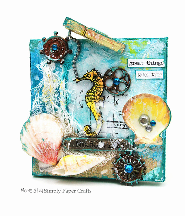 Meihsia Liu Simply Paper Crafts mixed media canvas sea Tim Holtz Simon Says Stamp 600