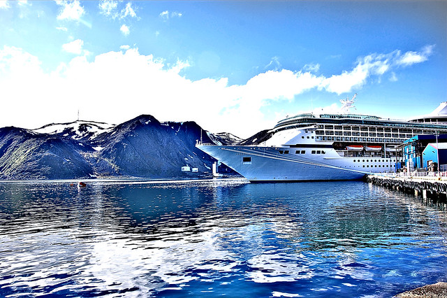 "Royal Caribbean Arctic circle cruise ship ""Legend of the Seas"" docked at Honningsvag, Norway"