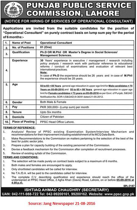 Punjab Public Service Commission Job