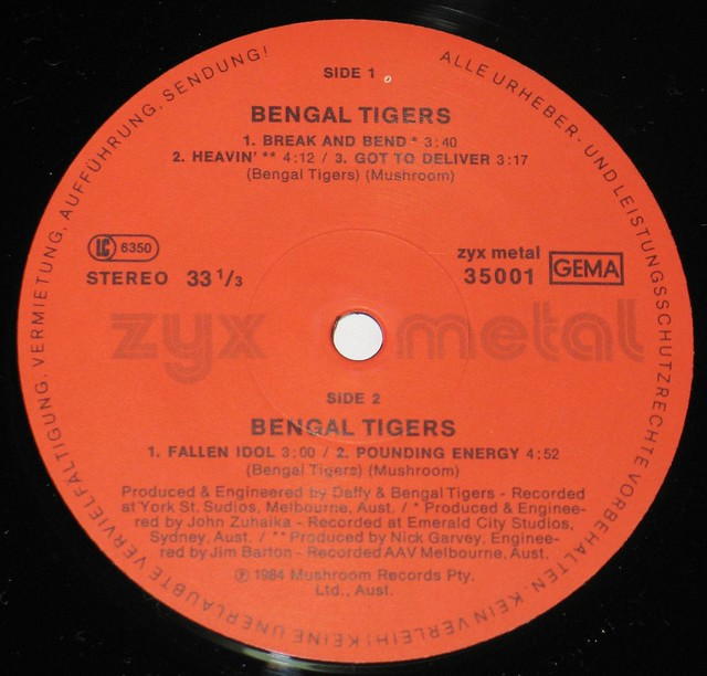 "BENGAL TIGERS METAL FETISH 12"" vinyl LP"