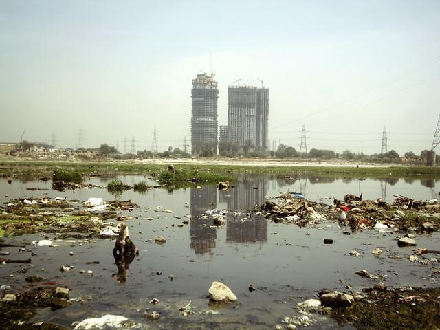 प्रदूषित यमुना नदी