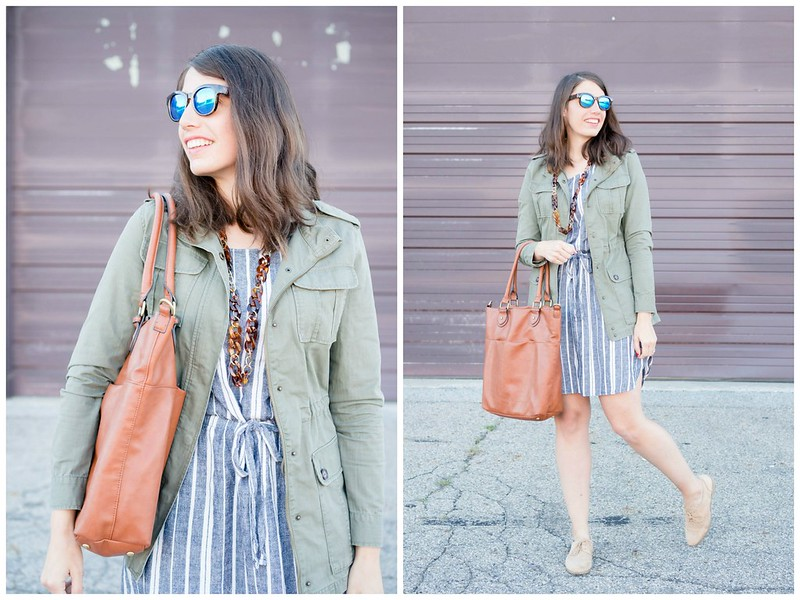 old navy stripe dress + Target green utility jacket + target cognac tote; casual fall outfit Style On Target blog