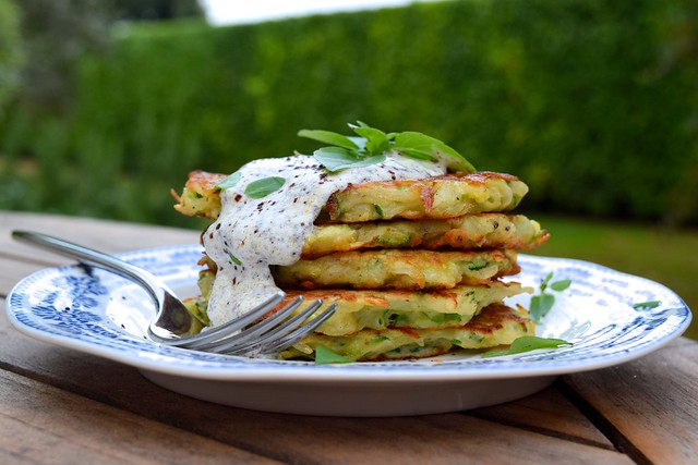 Courgette & Potato Fritters with Greek Basil and Sumac Sauce | www.rachelphipps.com @rachelphipps