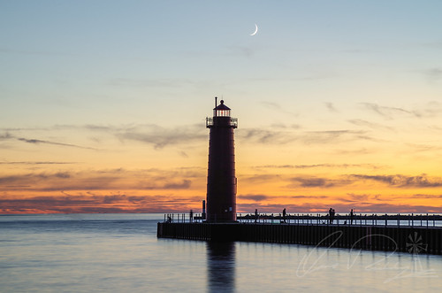 Sun and Moon Muskegon South Pier Light