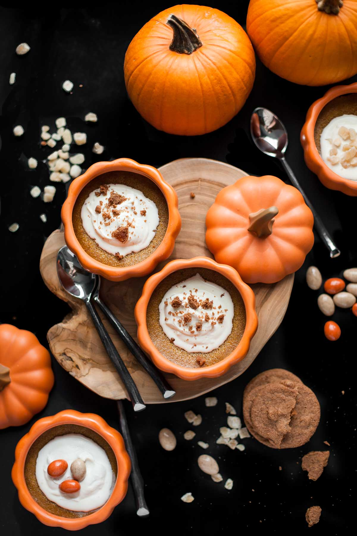 Baked Pumpkin Custards with Maple Mascarpone Whipped Cream (Gluten free)