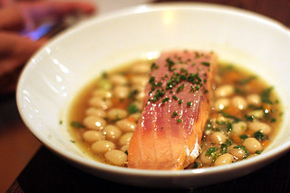 salmon with beans | by David Lebovitz