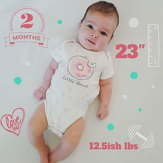 2 months! Her official weigh in happens on Tuesday so this is a guesstimate based on our scale at home, but I think it's clear Mama doesn't feed her milk but rather cream 😉