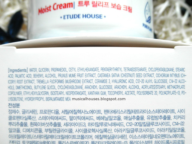 Etude House True Relief Review Moist Cream Ingredients