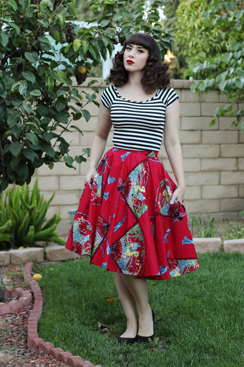 Trashy Diva Circle Skirt in Red Fans Print Modcloth Roller Derby Date Top in Black