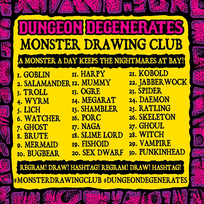 Sean Äaberg - Dungeon Degenerates Monster Drawing Club Poster