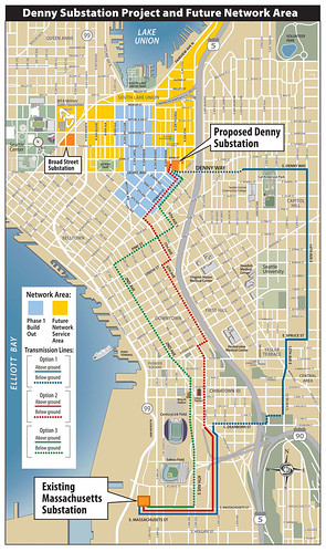 Denny Substation and Network Area Route Proposals | by jseattle