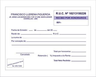 Recibo por honorarios urgentes facturas a domicilio deliv for Modelo de nomina para rellenar