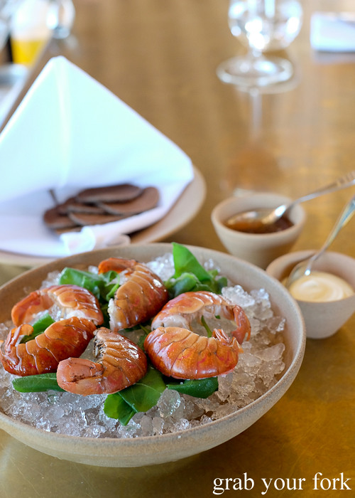 Red claw yabbies with lemon jam, cultured cream and buckwheat pikelets at Bennelong Restaurant Sydney