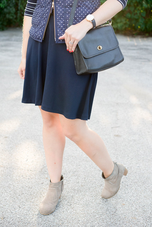 j.crew navy polka dot vest + Old Navy skirt + target ankle boots + navy and white stripe tee, casual fall outfit Style On Target blog