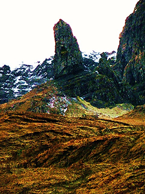 Close up of Old Man of Storr, Isle of Skye, Scotland.