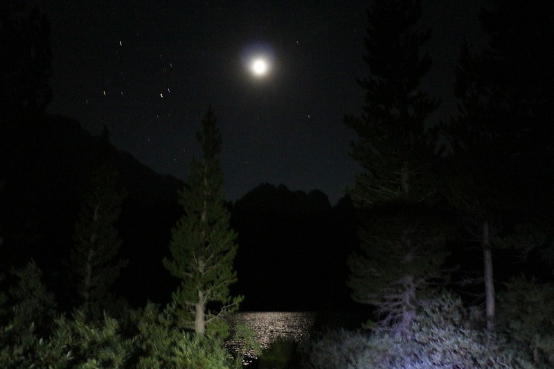 Moonlight reflecting off Gilbert Lake from the Kearsarge Pass Trail near our campsite