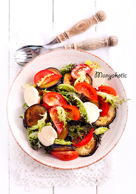 Eggplant, tomato and mozzarella salad
