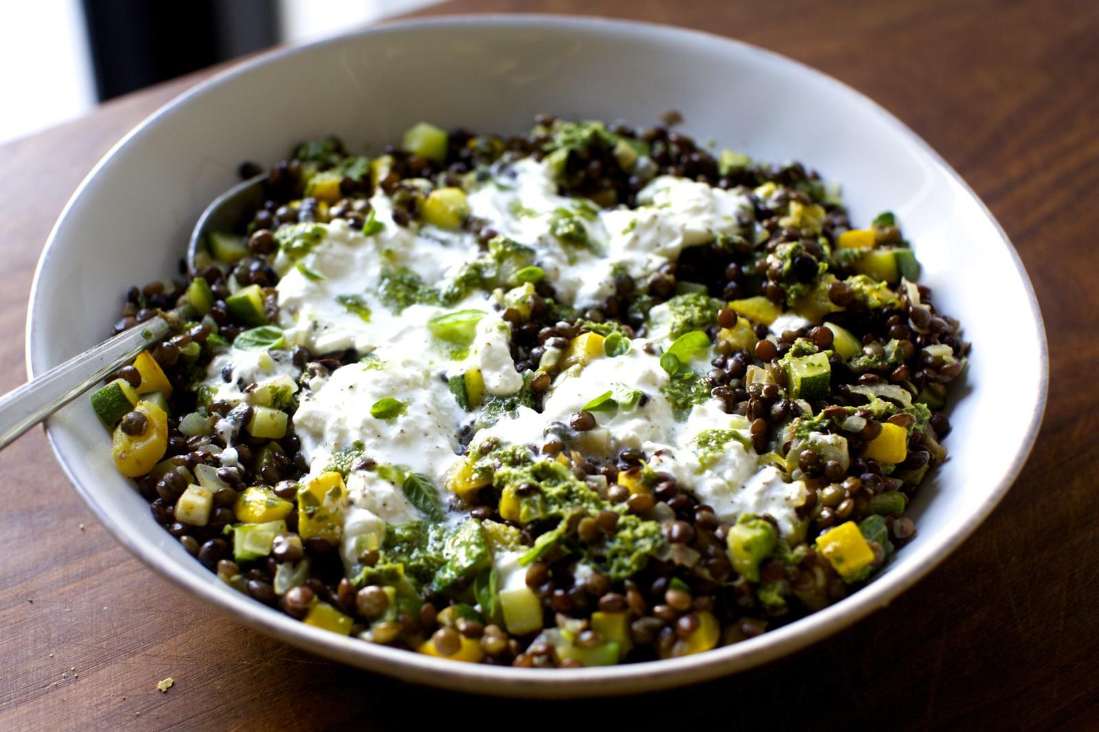 burrata with lentils and basil vinaigrette