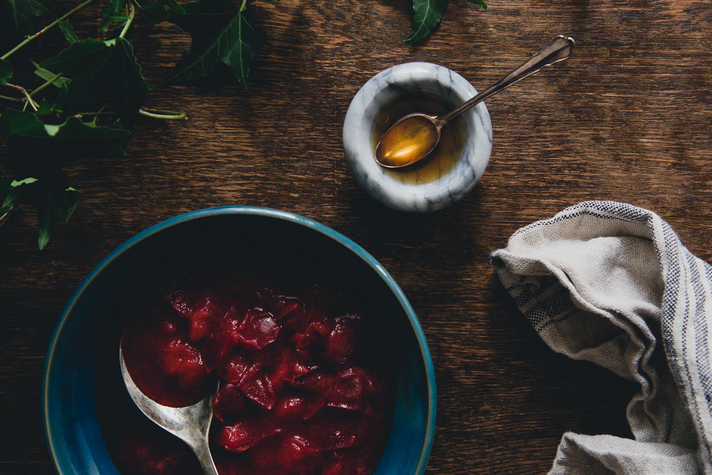 Bircher Muesli with Warm Plums & Spruce Syrup   Cashew Kitchen