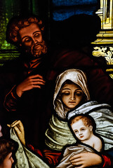 Jesus, Mary & Joseph - Stained Glass Detail