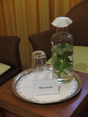 Wasser mit frischer Minze (im Hotel Schatzmann, Triesen, Liechtenstein)