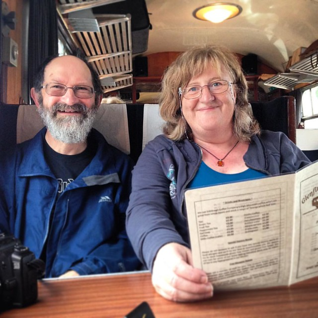 Mum & Dad.  Glenfinnan Dining Car Cafe, Glenfinnan Station, Scottish Highlands   #scottishhighlands #Glenfinnan #glenfinnanstation #scotland #railway #glenfinnanrailwaystation #glenfinnandiningcar
