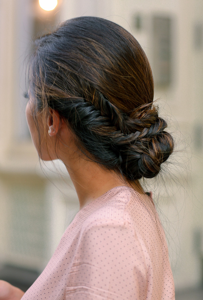 Fishtail braid side bun hairstyle tresemme nyfw 2017