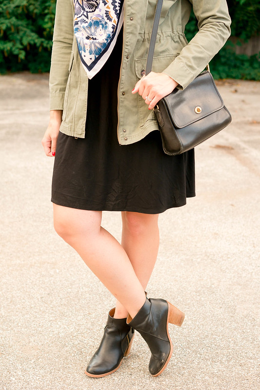 black dress + green utility jacket + black ankle boots; casual fall outfit | Style On Target