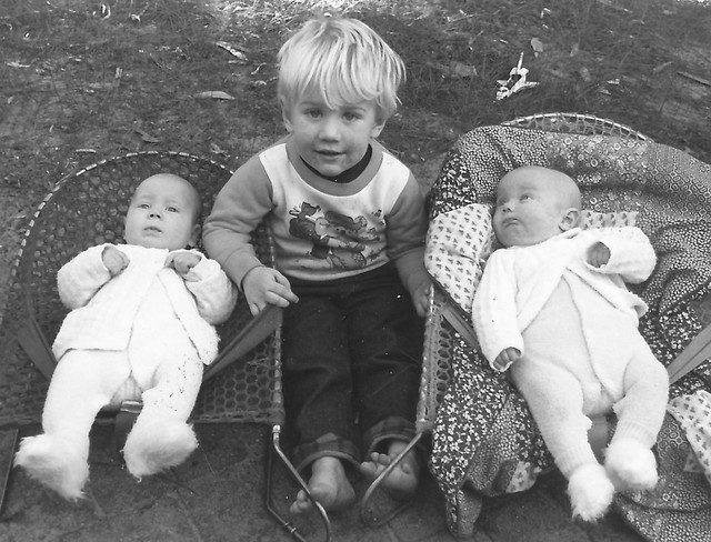 Tim with Dale & Fiona Weaver at 11 weeks, June 1989