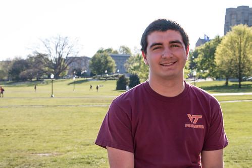 A photo of Wilson Rhodes wearing a maroon Virginia Tech shirt