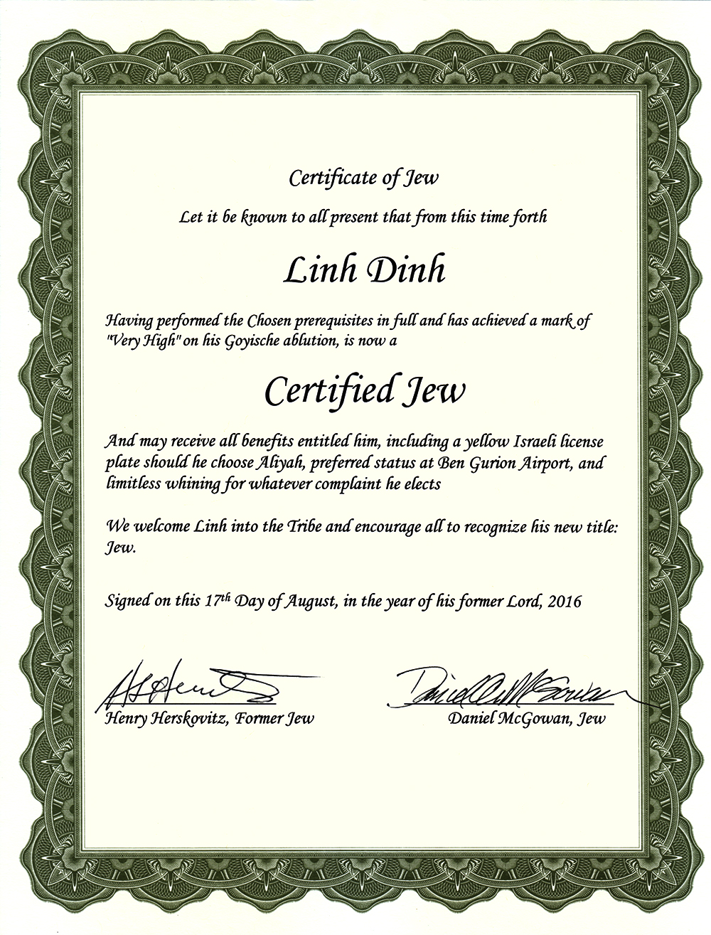 Certificate of Jew