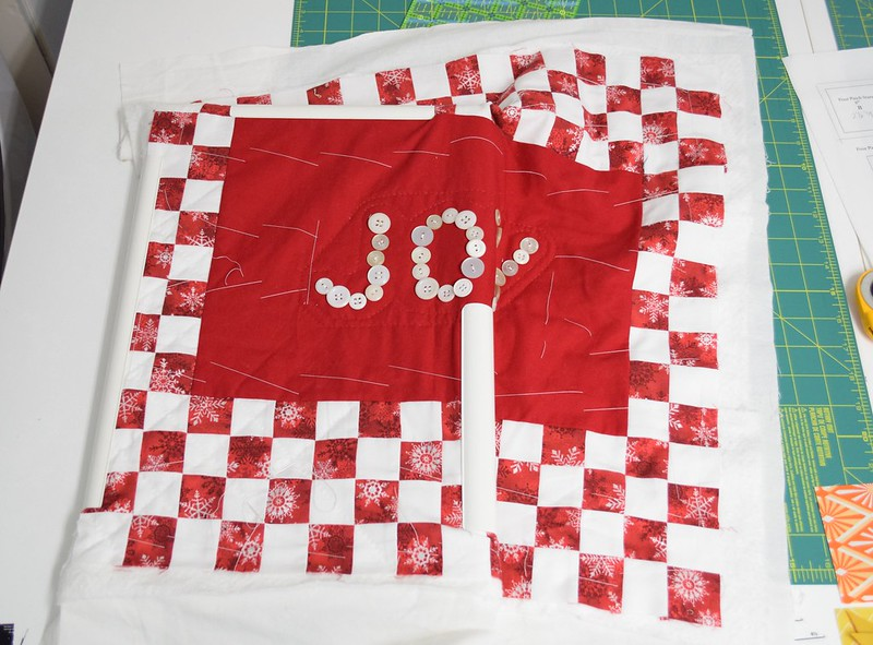 Joy pillow starting quilting
