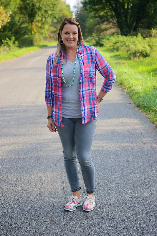 Casual with plaid Perfect White Tee from Thirty Something Fashion