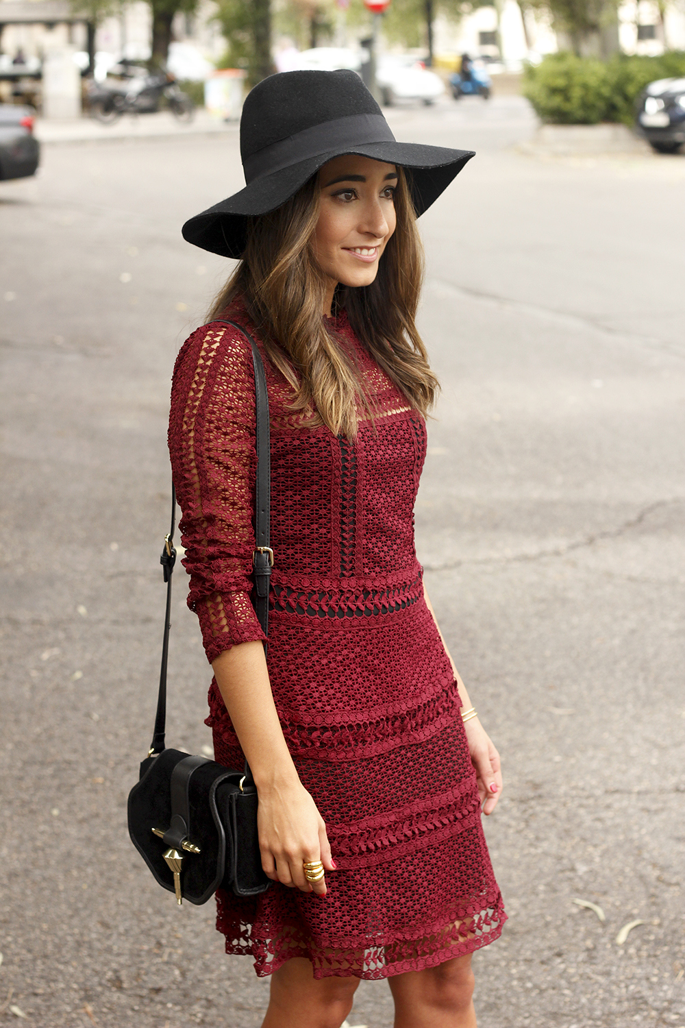 burgundy lace dress black heels hat accessories outfit fashion style17