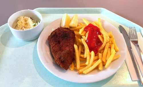 Vienna baked chicken with french fries / Wiener Backhendl mit Pommes Frites
