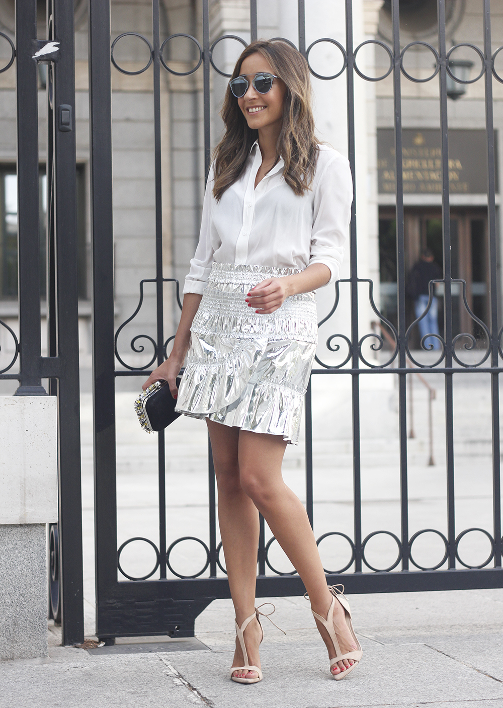 Isabel Marant Metallic Skirt white shirt nude sandals dior so real sunnies outfit style fashion21